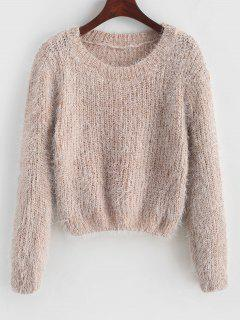 Pullover Fuzzy Heathered Sweater - Apricot