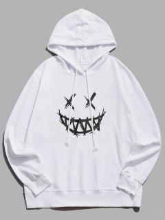 Happy Face Graphic Pouch Pocket Casual Hoodie - White S