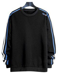 Contrast Striped Letter Print Crew Neck Sweatshirt - Black Xs