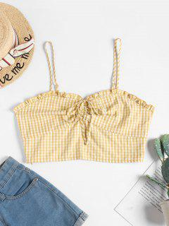 ZAFUL Cinched Gingham Crop Cami Top - Multi-a L