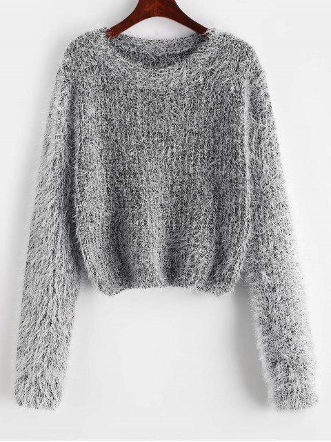 hot Pullover Fuzzy Heathered Sweater - BLACK ONE SIZE Mobile