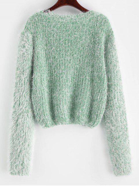 Camisola Distorcido Heathered - Verde Claro do Mar Um Tamanho Mobile