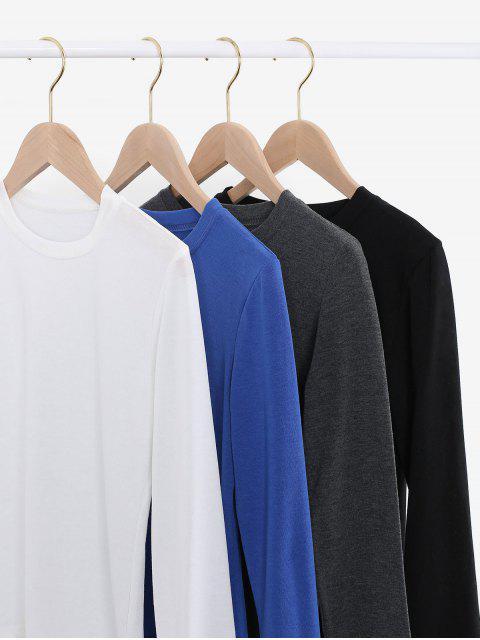 fancy Long Sleeve Plain Basic T-shirt - BLACK ONE SIZE Mobile