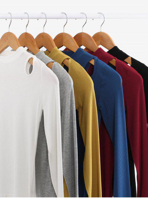fashion Cut Out Solid Long Sleeves Tee - WHITE M Mobile
