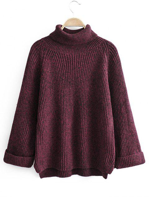 women Turtleneck Side Slit High Low Sweater - RED WINE ONE SIZE Mobile