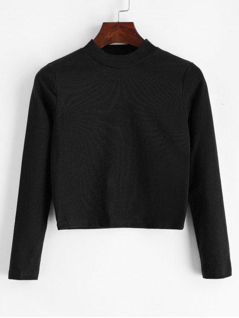 new Mock Neck Plain Cropped Tee - BLACK ONE SIZE Mobile