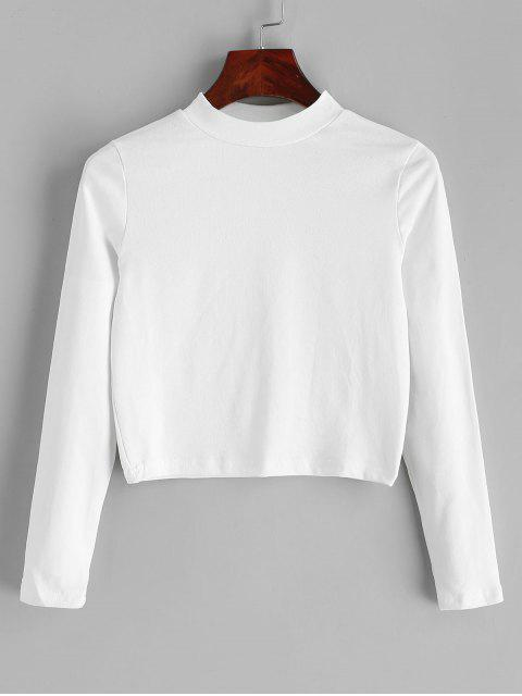 buy Mock Neck Plain Cropped Tee - WHITE ONE SIZE Mobile