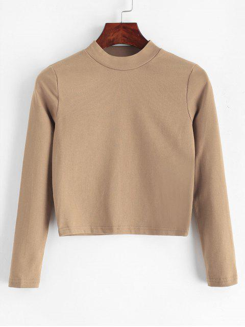 womens Mock Neck Plain Cropped Tee - KHAKI ONE SIZE Mobile