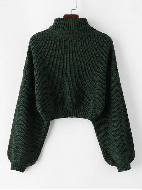 trendy ZAFUL Turtleneck Lantern Sleeve Cropped Sweater - GREEN S Mobile