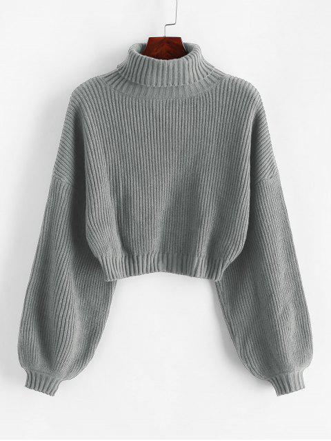 unique ZAFUL Turtleneck Lantern Sleeve Cropped Sweater - GRAY L Mobile