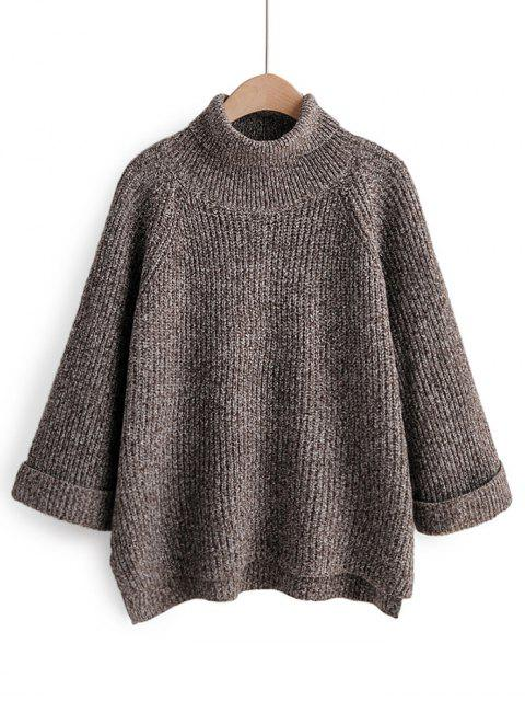 ladies Turtleneck Side Slit High Low Sweater - COFFEE ONE SIZE Mobile