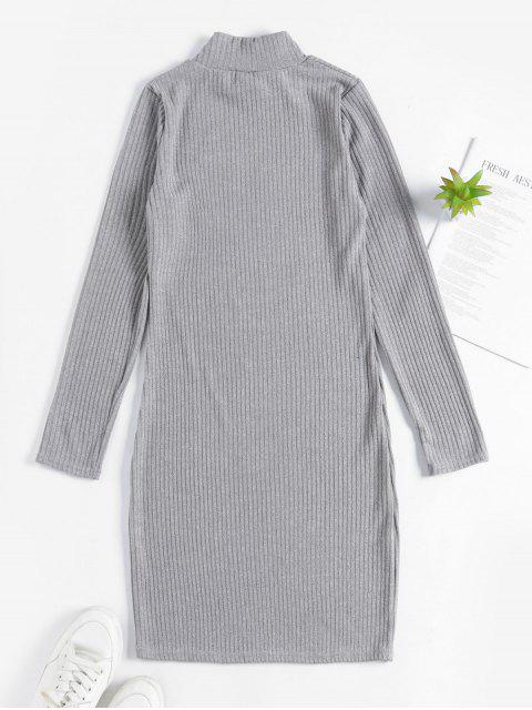 Robe Moulante Tricoté à Col Haut - Nuage Gris M Mobile
