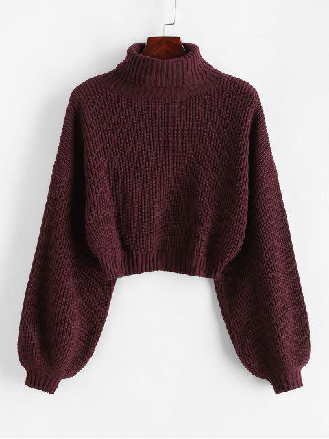 online ZAFUL Turtleneck Lantern Sleeve Cropped Sweater - RED WINE S Mobile