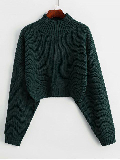 trendy ZAFUL Drop Shoulder Mock Neck Plain Sweater - DARK FOREST GREEN L Mobile