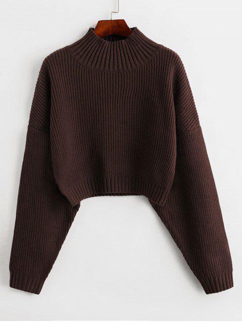 unique ZAFUL Drop Shoulder Mock Neck Plain Sweater - DEEP BROWN L Mobile