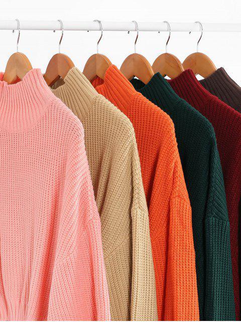 ladies ZAFUL Drop Shoulder Mock Neck Plain Sweater - ORANGE S Mobile