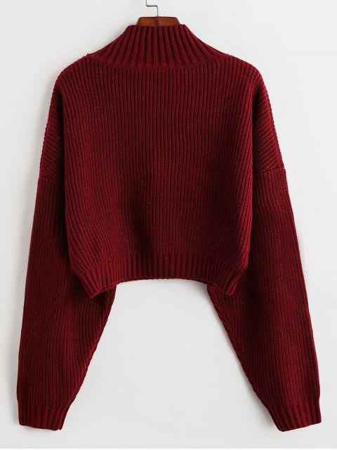 chic ZAFUL Drop Shoulder Mock Neck Plain Sweater - RED S Mobile