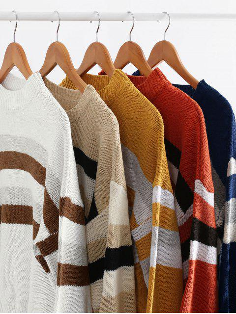 best Lantern Sleeve Stripes Pullover Sweater - CAMEL BROWN ONE SIZE Mobile