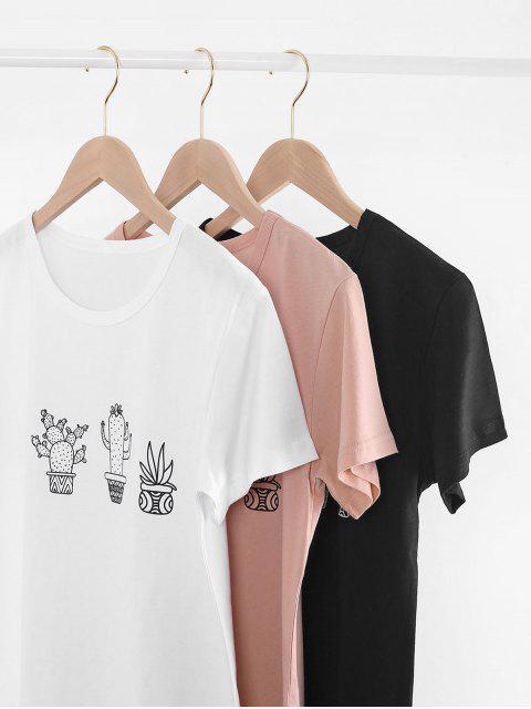 fashion Cactus Graphic T-shirt - BLACK 2XL Mobile