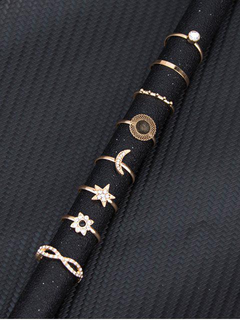 8 шт. Комплект Горный хрусталь Звезда Луна Цветок Кольца - Золотой  Mobile