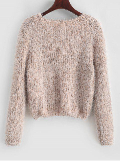buy Pullover Fuzzy Heathered Sweater - APRICOT ONE SIZE Mobile