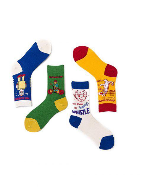 4 пара Мультфильм Хлопчатобумажные Носки Комплект - Многоцветный-A  Mobile