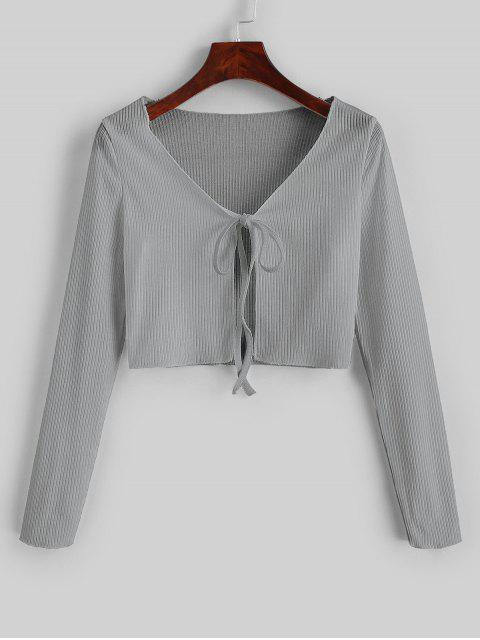 chic Ribbed Tie Front Cropped Tee - GRAY CLOUD S Mobile