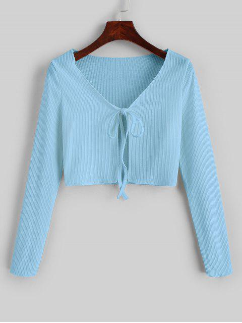 shop Ribbed Tie Front Cropped Tee - LIGHT SKY BLUE S Mobile