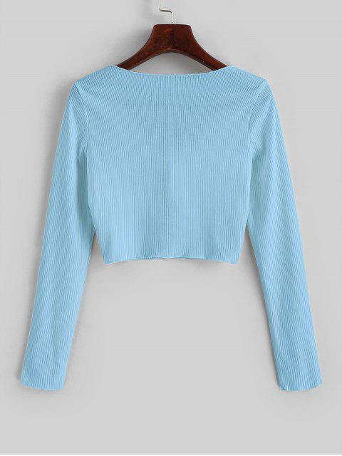 new Ribbed Tie Front Cropped Tee - LIGHT SKY BLUE M Mobile