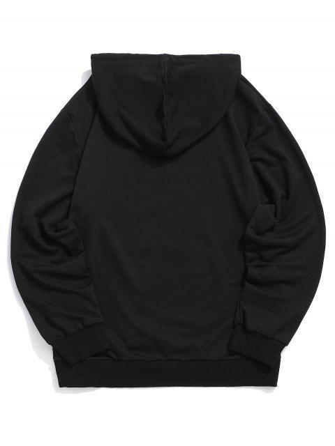 新奇印花囊袋狀抽繩連帽外套 - 黑色 XL Mobile