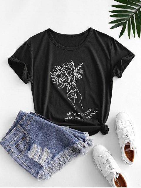 trendy Holding Flower Sketch Graphic Short Sleeve Tee - BLACK L Mobile