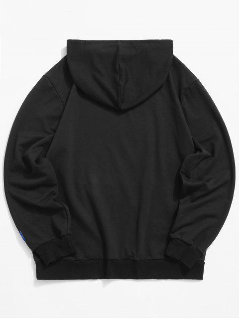 中國龍印刷口袋連帽衫 - 黑色 M Mobile
