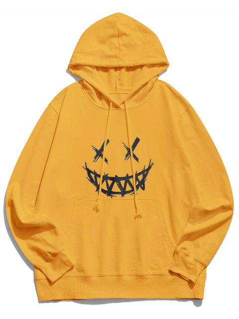 women's Happy Face Graphic Pouch Pocket Casual Hoodie - YELLOW 2XL Mobile