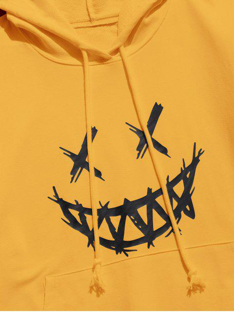 sale Happy Face Graphic Pouch Pocket Casual Hoodie - YELLOW XS Mobile