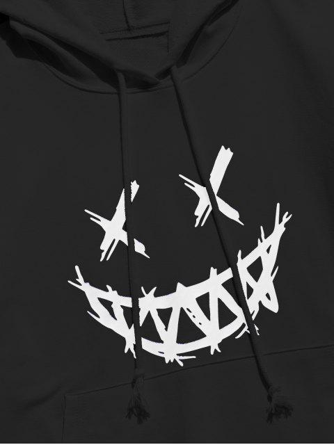buy Happy Face Graphic Pouch Pocket Casual Hoodie - BLACK L Mobile
