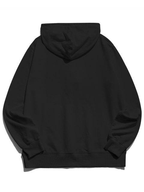 womens Happy Face Graphic Pouch Pocket Casual Hoodie - BLACK M Mobile