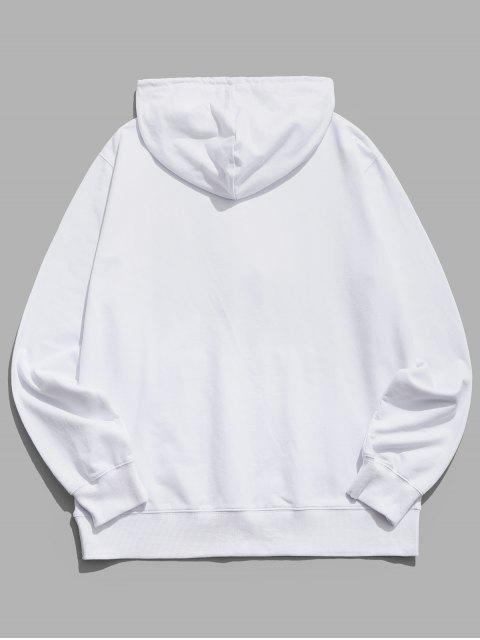 fashion Happy Face Graphic Pouch Pocket Casual Hoodie - WHITE S Mobile