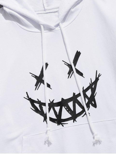 women Happy Face Graphic Pouch Pocket Casual Hoodie - WHITE XS Mobile