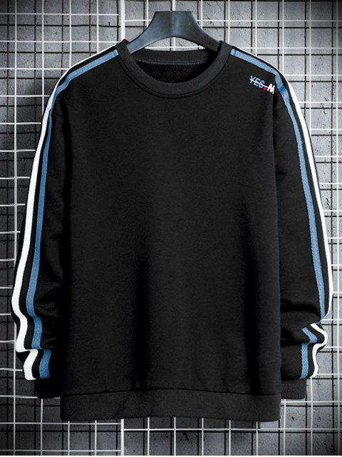 online Contrast Striped Letter Print Crew Neck Sweatshirt - BLACK XS Mobile