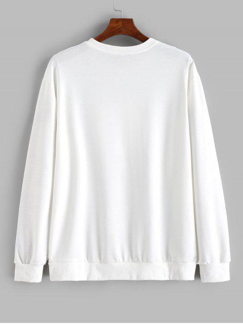 孫信印花休閒運動衫 - 白色 L Mobile