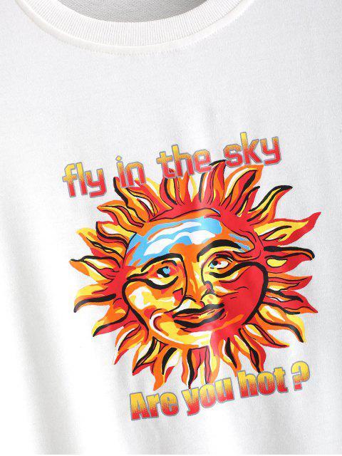 unique Sun Letter Printed Casual Sweatshirt - WHITE XL Mobile