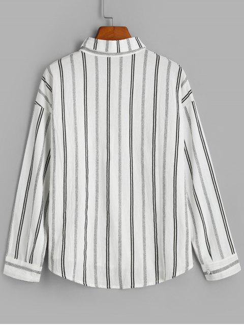 women's Front Pocket Stripes Button Down Shirt - WHITE ONE SIZE Mobile