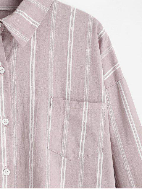 hot Front Pocket Stripes Button Down Shirt - PIG PINK ONE SIZE Mobile