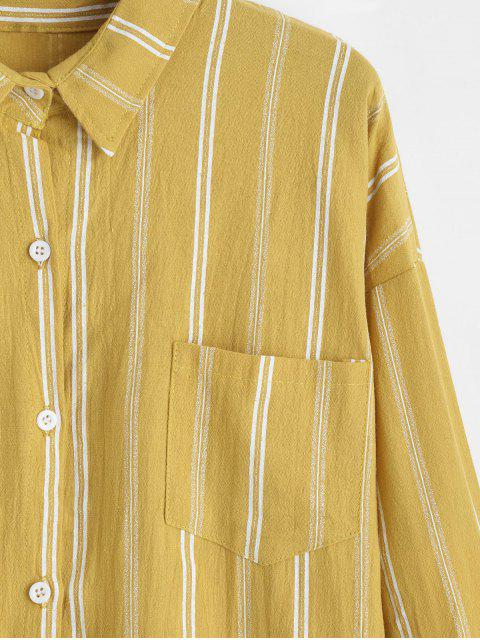 womens Front Pocket Stripes Button Down Shirt - YELLOW ONE SIZE Mobile