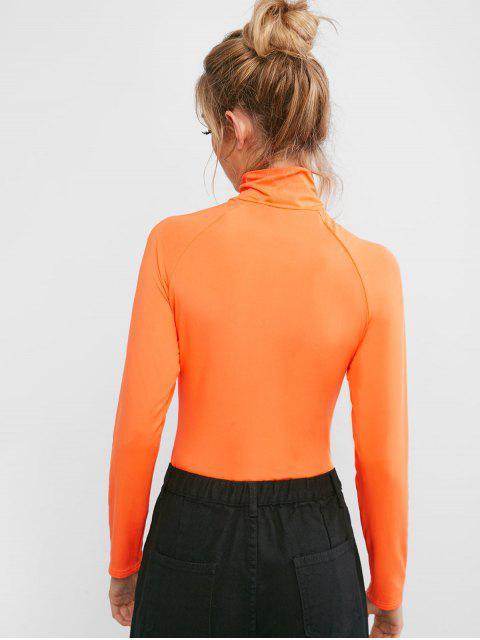 Bodysuit conCuello Alto y CorteAlto con Cremallera - Naranja S Mobile