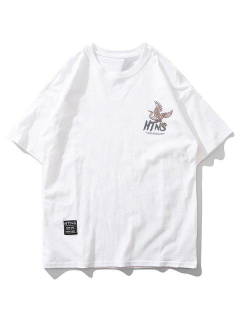 飛鶴字母圖形打印短袖T卹 - 牛奶白色 2XL Mobile