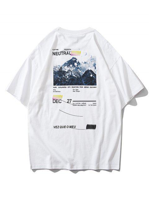 山圖形文字打印短袖T卹 - 白色 M Mobile