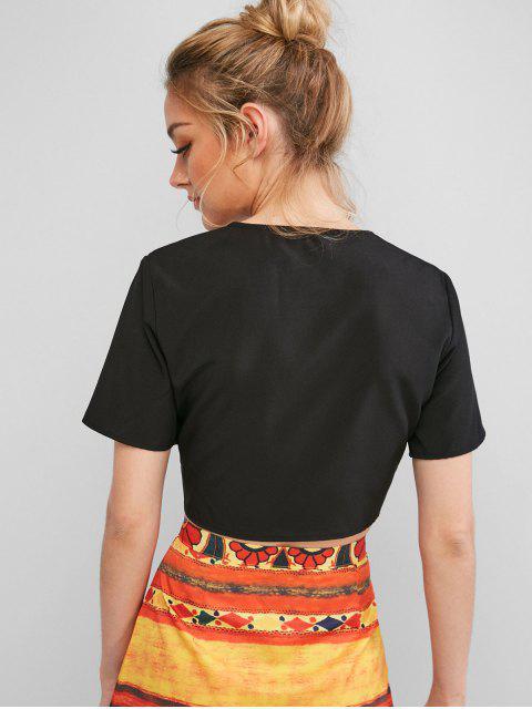 fashion ZAFUL Tie Crop Top - BLACK S Mobile