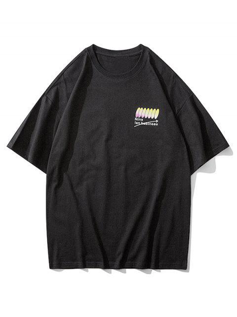 Camiseta de Manga Corta con Estampado Gráfico de Letras - Negro XL Mobile
