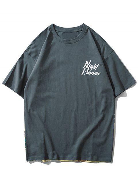 lady Landscape Letter Print Short Sleeve T-shirt - LIGHT SLATE GRAY L Mobile